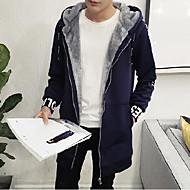 Masculino Casaco Longo Casual Simples Inverno,Sólido Letra Padrão Algodão Com Capuz Manga Longa