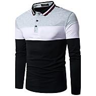 Tee-shirt Homme, Couleur Pleine - Coton Col de Chemise / Manches Longues