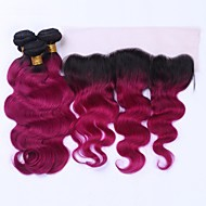 Beat Hair 8A Human Hair 3 Bundles With Lace Frontal Closure Two Tone Colored 1B/99J Burgundy Dark Roots Ombre Body Wave Virgin Hair With 13x4 Frontal