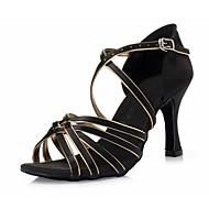 Χαμηλού Κόστους Παπούτσια χορού-Γυναικεία Παπούτσια χορού λάτιν Μετάξι Τακούνια Κορδέλα Τακούνι Στιλέτο Παπούτσια Χορού Μαύρο και Χρυσό / Εσωτερικό / Δέρμα