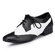 """billige Moderne sko-Herre Latin Lær Høye hæler Profesjonell Fargeblokk Tykk hæl Svart/Hvit Under 1 """" Kan spesialtilpasses"""