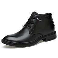 Men's Boot Fluff Lining Driving Shoe Formal Shoe Comfort Bootie Spring Winter Real Leather Cowhide Nappa Leather Casual Office & Career