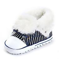 Baby Flate sko Komfort Første gåsko Babysko Trendy støvler Tekstil Høst Vinter Bryllup Avslappet Formell Fest/aften Snøring Flat hæl Svart