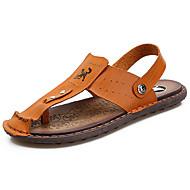 メンズ 靴 PUレザー 夏 スリングバック サンダル ウォーキング リベット 用途 カジュアル ダークブラウン ライトブラウン