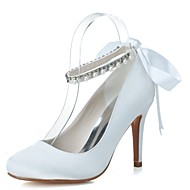 baratos Sapatos Femininos-Mulheres Sapatos Cetim Primavera / Verão Sapatos formais Sapatos De Casamento Salto Agulha Ponta Redonda Pérolas / Cadarço de Borracha