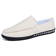 tanie Obuwie męskie-Męskie Buty Len Wiosna Lato Mokasyny Comfort Mokasyny i pantofle na Casual Black Beige Brown