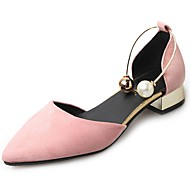 cheap Women's Heels-Women's Heels T-Strap Comfort Summer Cashmere Walking Shoes Casual Pearl Low Heel Black Green Blushing Pink Almond 2in-2 3/4in