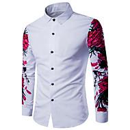 Klassisk krave Tynd Herre - Ensfarvet Bomuld, Trykt mønster Afslappet Skjorte / Langærmet