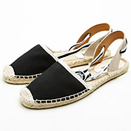 cheap Women's Sandals-Women's Shoes Canvas Cotton Spring Summer D'Orsay & Two-Piece Espadrilles Light Soles Sandals Flat Heel Round Toe Lace-up Hollow-out for