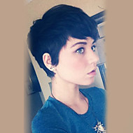 נשים שיער ללא שיער שחור קצר ישר פיקסי קאט עם פוני