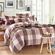 Geometric 4 Piece Cotton Cotton 1pc Duvet Cover 2pcs Shams 1pc Fitted Sheet