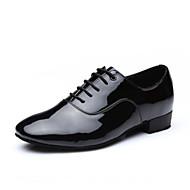 billige Men's Dance Shoes-Herre Sko til latindans Fuskelær Hel såle Lav hæl Dansesko Svart / Lær / Trening