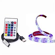 cheap LED Strip Lights-1m RGB Strip Lights 30 LEDs 1 24Keys Remote Controller RGB Cuttable USB Waterproof TV Background Self-adhesive Linkable Decorative 5V 1set
