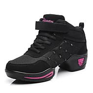 baratos Sapatilhas de Dança-Mulheres Tênis de Dança Arrastão / Couro Meia Solas Tachas Salto Cubano Sapatos de Dança Preto / Vermelho / Ensaio / Prática