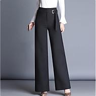 Feminino Moda de Rua Cintura Alta Inelástico Perna larga Calças,Reto Perna larga Sólido