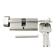 Lock Cylinder Thumb Turn Cylinder 70mm(35/35),Lock Cylinder with Knob with 3 Keys, Brush Nickle