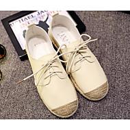 Dame Flate sko Komfort Lerret PU Vår Sommer Avslappet Hvit Svart Beige Flat