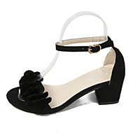 cheap Women's Sandals-Women's Shoes PU Spring / Summer Comfort Sandals Chunky Heel Open Toe Buckle / Flower for Party & Evening / Dress Black / Gray / Pink