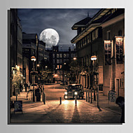 E-HOME® Stretched LED Canvas Print Art The Streets Under The Moonlight LED Flashing Optical Fiber Print One Pcs