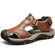 """גברים סנדלים נוחות עור נאפה Leather קיץ סתיו קזו'אל שמלה נעלי ספורט מים חום בהיר מתחת ל 2.54 ס""""מ"""