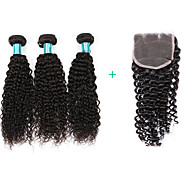 Kinky Curly Hair Extensions 3 Bundles Human Hair Weft With Closure 4X4 Size Brazilian Virgin Hairs Women Hairs Texture Kinky Curly