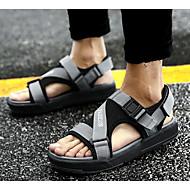גברים סנדלים נוחות בד קיץ קזו'אל שחור אפור שטוח