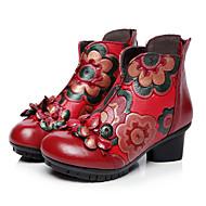 Naiset Kengät Nahka Syksy Comfort Bootsit Käyttötarkoitus Kausaliteetti Musta Punainen