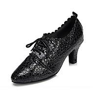 """billige Moderne sko-Dame Latin Lær Høye hæler Profesjonell Mønster / trykk Tykk hæl Svart 1 """"- 1 3/4"""" 2 """"- 2 3/4"""" Kan spesialtilpasses"""
