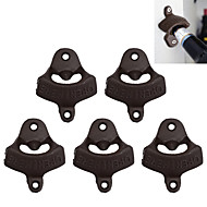 Open Here Bottle Opener Vintage Style Wall Mount Man Cave Antique Bottle Beer Opener Hanging Wall Hook Beer-- 5 pcs
