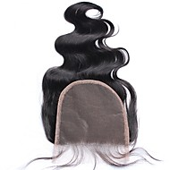 5x5 laço fechado nó ondulado onda do corpo indiano fecho de cabelo humano 100% com cabelo do bebê natural cor preta livre / segunda parte