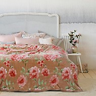 cheap Blankets & Throws-Woven Floral Polyester/Cotton Blend Blankets