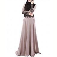Mulheres Vintage Casual Kaftan Vestido - Renda, Sólido Longo