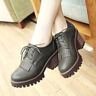 נשים נעליים PU אביב סתיו נוחות נעלי אוקספורד עקב עבה בוהן עגולה עבור קזו'אל שחור צהוב ירוק