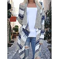 Feminino Padrão Carregam,Casual Listrado Colarinho de Camisa Manga Longa Cashmere Outono Inverno Média Micro-Elástica