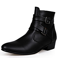 cheap Men's Boots-Men's Snow Boots Leather / Fabric Fall / Winter Comfort Boots White / Black / Khaki