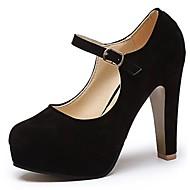 abordables Talons pour Femme-Femme Chaussures Polyuréthane Printemps / Automne Semelles Légères Chaussures à Talons Talon Bottier Bout pointu Boucle Noir / Habillé