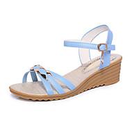baratos Sapatos Femininos-Mulheres Sapatos Couro Ecológico Primavera / Verão Conforto Sandálias Salto Plataforma Dedo Aberto Presilha Bege / Azul Claro