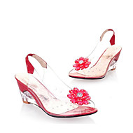 レディース 靴 PUレザー 夏 コンフォートシューズ サンダル 用途 カジュアル ホワイト ブラック イエロー レッド ブルー