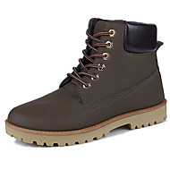 Men's Boots Combat Boots Spring Fall Rubber Walking Shoes Outdoor Lace-up Flat Heel Black Yellow Brown Under 1in