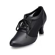 Dame Moderne ånd bare Blanding Lær Høye hæler Innendørs Side Udhulet Kubansk hæl Svart 6 cm