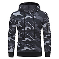 cheap Men's hoodies-Men's Active / Military Long Sleeve Hoodie - Solid Colored Hooded Green XL / Fall / Winter