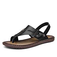 Herren Sandalen Wasser-Schuhe Komfort Leuchtende Sohlen Leder Sommer Normal Mit Besatz Flacher Absatz Schwarz Braun Flach