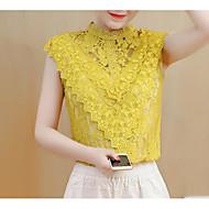 Rund hals Dame - Ensfarvet Bluse Polyester