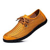 Men's Shoes Leather Fall Winter Ankle Strap Sneakers Lace-up For Casual Dark Blue Yellow Light Brown