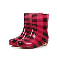 Feminino Sapatos PVC Inverno Botas de Chuva Botas Para Casual Preto Vermelho Leopardo