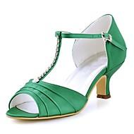 billige Bryllupssko-Dame Sko Strekksateng Sommer Basispumps bryllup sko Tykk hæl Titte Tå Krystall / Spenne Rød / Grønn / Blå / Bryllup