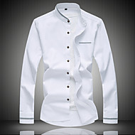 男性用 シャツ スタンドカラー ソリッド コットン
