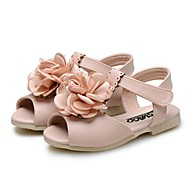 cheap Girls' Shoes-Girls' Shoes Leatherette Summer Comfort Sandals Satin Flower Flower for Casual Dress Beige Pink Light Blue
