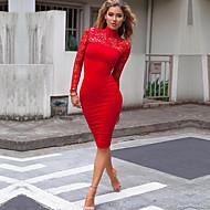 Mujer Festivos Noche Discoteca Corte Bodycon Vestido Un Color Midi Cuello Alto Rojo / Sexy / Pitillo