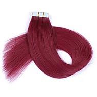16-24 인치 테이프 레미 인간의 머리카락 확장 부르고뉴 pu 테이프 머리 확장 20 조각